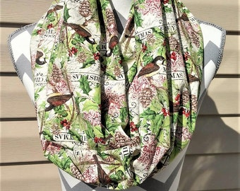 Christmas Scarves, Birds Scarf, Neck Scarf, Infinity Scarf, Womens Scarves, Fashion Scarves, Loop Scarf, Circle Scarf, Ladies Clothing,