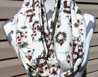 Christmas Scarves, Neck Scarf, Infinity Scarf, Womens Scarves, Birds/Snowman, Fashion Scarves, Loop Scarf, Circle Scarf, Ladies Clothing,