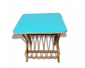 Bedside rattan 1960 France - Rattan side table - bedside vintage - mid century - chevet rattan