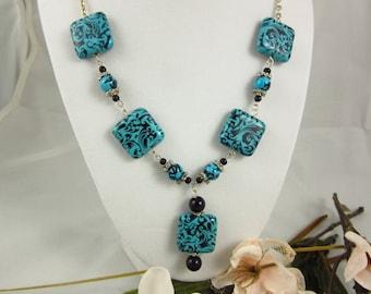 Ceramic Necklace, Y Necklace, Silver Necklace, Handmade Necklace, Ceramic Jewelry, Southwestern Jewelry, Silver Jewelry