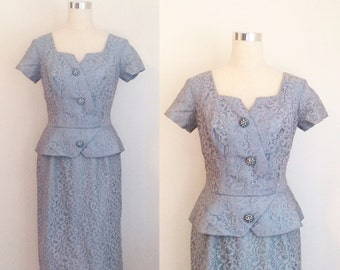 1950s Blue Peplum Lace Dress with Rhinestone Embellishments Size Medium   50s Lace Wiggle Dress