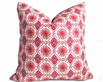 Designer Boho Chic Pink Cream Starburst Geometric Pillow Cover, Fits 12x18 12x24 14x20 16x26 16 18 20 22 24 26 Cushions