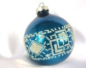 Vintage Blue Christmas Ornament with Geometric Venetian Dew Design, USA Ornament