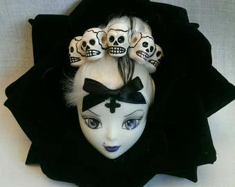 Goth bratzilla doll in  XL black rose  fascinator