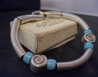 "Unusual Sterling silver and turquoise bracelet - 925 - 2.5"" x 2.25"""