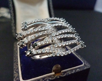 Large sterling silver statement ring - Sparkly CZ - 925 - UK N - US 6.75