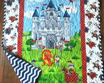 """Boys *Castle for Knights and Dragons"""" 39""""x42"""" Quilt Baby Nursery Crib Bedding Toddler Napping Blanket Stippling Quilted Napping"""