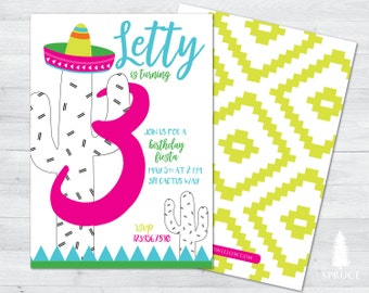 fiesta birthday invitation, cactus birthday invitation, fiesta invitation, cactus invitation, fiesta birthday, cactus birthday