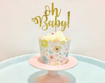 12ct Oh Baby! Glitter cupcake topper, Oh baby topper, Baby topper, gender topper, shower cupcake topper, baby shower cupcake topper
