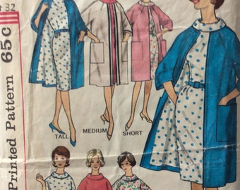 Simplicity 4294 misses dress and coat in proportioned sizes size 12 bust 32 vintage 1960's sewing pattern