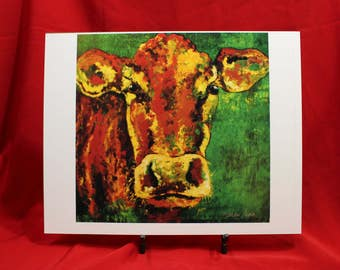 South Devon Cow Print, Abstract Brown Cow Fine Art Print, Green Cow Painting, Brown Cow Wall Art print.