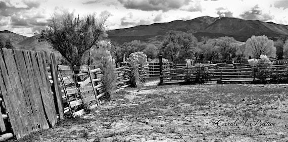 UTAH TRAVEL PHOTOGRAPHY ~ Junction, Utah ~ Abandoned Livestock Paddock ~ Black and White Fine art ~ Country Rustic Wall art ~ Landscape ~UT6