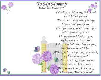 U Print BABY'S Poem Handprints for Mommy Art Print ~ I'd Tell You If I Could  'Just For You' First Mother's Day Christmas