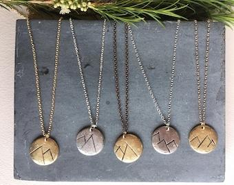 ROUGH Mountain Disc Necklace, Mountain Necklace, Mountain Range Necklace, Disc Necklace, Layering Necklace, Nature Necklace