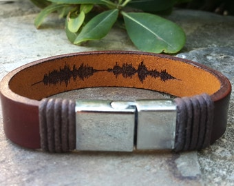 Valentines Gift for Boyfriend, Personalized Mens Soundwave Leather Bracelet, Hidden Message Memorial Jewelry, Great Birthday Gift for Him