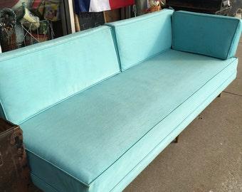 Retro  home Danish Modern teal vinyl sofa with 2 cushions atomic legs apartment office living
