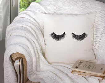 Beauty Sleep Eyelashes Illustration 18 X 18 Square Couch Bed Throw Pillow