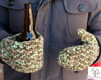 Beverage Cozy Mitts, Crochet Mitts, Ladies Mitts, Men Mitts, Crochet Cozy Beer Mitts