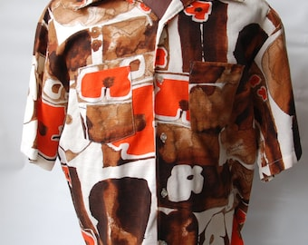 Genuine Vintage 1960s-'70s Hawaiian Miami Florida Men's Bark Cloth Shirt  — Free Shipping!