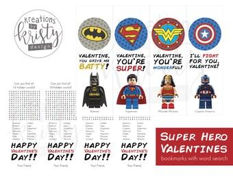 Valentine's Day Lego Super Hero Bookmark Valentines, Digital File, Instant Download