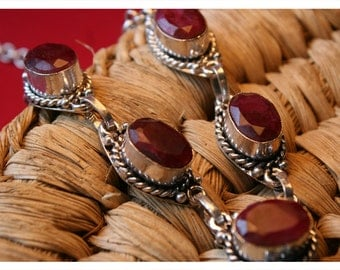 Pinja, 46-48 cm long necklace with Ruby & Tibetan silver