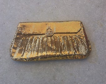 Vintage 1940s Whiting Davis Purse - Golden Mesh Handbag