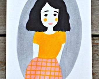 Yellow & Pink Print - 5X7
