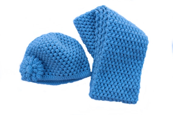 Ready to Ship**Free Shipping**/Crochet Hat and Scarf Set/Blue Hat and Scarf/Medium Long Ladies Teen Scarf Hat/Light Blue Hat and Scarf Set