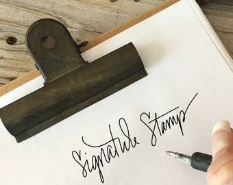 CUSTOM CALLIGRAPHY STAMP, Signature Rubber Stamp Design, Return Address, Rubber Stamp, Modern Calligraphy Wood Stamp, Hand Lettered Stamp