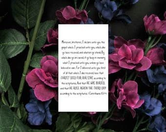 The Gospel 1 Corinthians 15:1-4 Mini Note Print - Easter Basket Gift - Mini Christian Tract Tiny Card - Bible Verse Memory Cards
