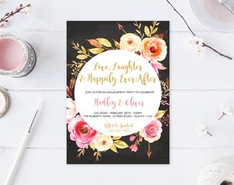 Engagement Party Invitation, Chalkboard, Boho, Bohemian, Floral, Engaged, Engagement Party, Engagement Invites, We're Engaged, Custom [578]