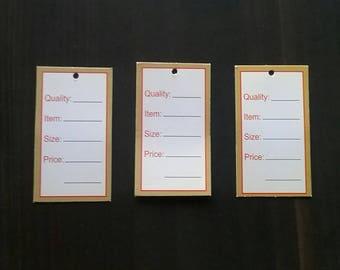 100 White Printed Price tags rectangular price tags