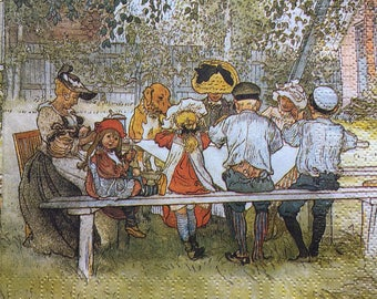 Set of 2(two)napkins Breakfast under the big birch by Carl Larsson master artwork for collection ,decoupage,scrapbooking and other art
