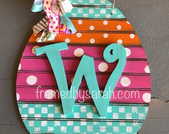 25% off Easter Beadboard Egg Door Hanger + Initial, Wood Cut out
