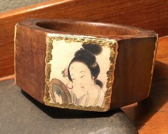 "Wooden bracelet with gold. "" Geisha """