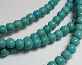 100pcs Turquoise Howlite Beads (Grade D) - Blue Stone Beads - Turquoise Imitation - Howlite Gemstone Beads - 4mm Beads - B01264