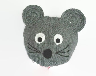 Mouse hat animal hat knit baby hat photo props baby neutral toddler mouse hat winter hat children costume kids dress up infant beanie