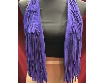 Vintage Suede Purple Fringe Vest