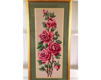 Large vintage rose embroidery