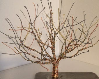 Copper, Brass, and Steel Wire Tree Sculpture on a Steel Base, Made in Lincoln, Nebraska.