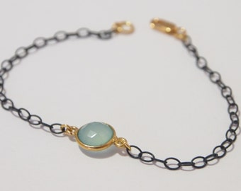 Oxidized Sterling Silver Chain Bracelet (Black) With Gold Vermail and Aqua Blue Chalcedony