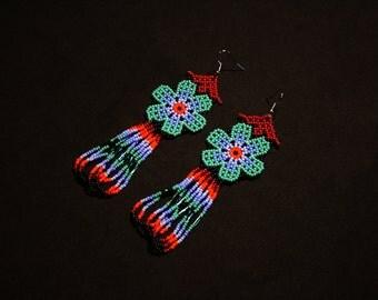 Mexican Beaded Earrings, Huichol Earrings, Huichol Jewelry, Turquoise Florette Earrings, Beaded Dangle Earrings, Traditional Beadwork