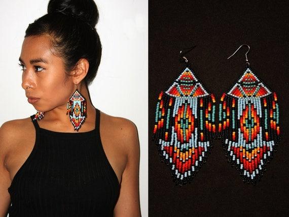 Native American Beaded Earrings, Boho Tribal Earrings, Aztec Earrings, Pyramid Earrings, Large Dangling Earrings, Statement Earrings
