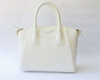 White Faux Leather Satchel | Dome Satchel | Top Handle Bag |