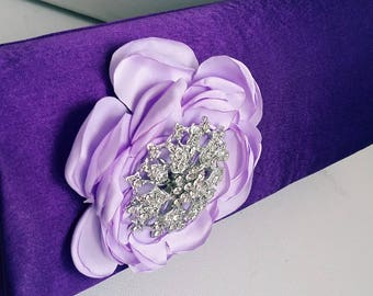 Purple and Lilac Bridal Clutch with Rhinestone ~ Wedding Clutch, Bridesmaid Clutch ~ Bouquet Clutch- Evening Bag ~ Mother of the Bride, Prom