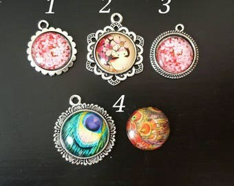 Blythe Doll Custom Set of Two Pull Charms Pull Strings Round Beads 14 or 16 MM Feather Flower Cabochons