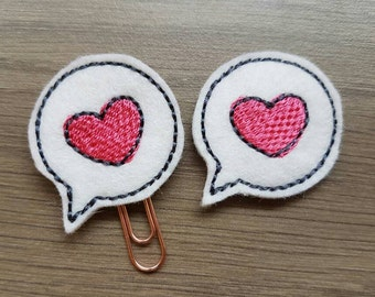 Heart Speech Bubble Valentine Paper Clip