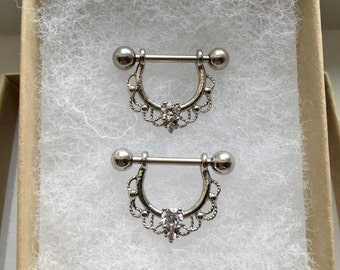 Set of (2) Lace CZ Nipple Rings.239
