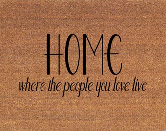 """Home Where The People You Love Live Door Mat - Coir Doormat Rug - 2' x 2' 11"""" (24 Inches x 35 Inches) - Welcome Mat - Housewarming Gift"""