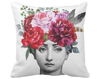 "Fornasetti OUTDOOR Flowers Throw Pillow, Modern Black and White Print 16 or 20"" Square Pillows, Bright Watercolor Roses/Face"